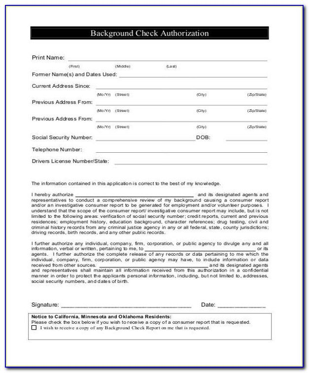 employee criminal background check consent form