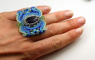 DK Design handmade soutache and OOAK: Kolorowy sutaszowy pierścień/ soutache ring
