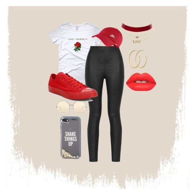 """Mood 4/2/17"" by terrelljaquanisha on Polyvore featuring Armani Jeans, Kate Spade, Victoria Beckham, NIKE, Converse, Charlotte Russe, Dyrberg/Kern and Lime Crime"