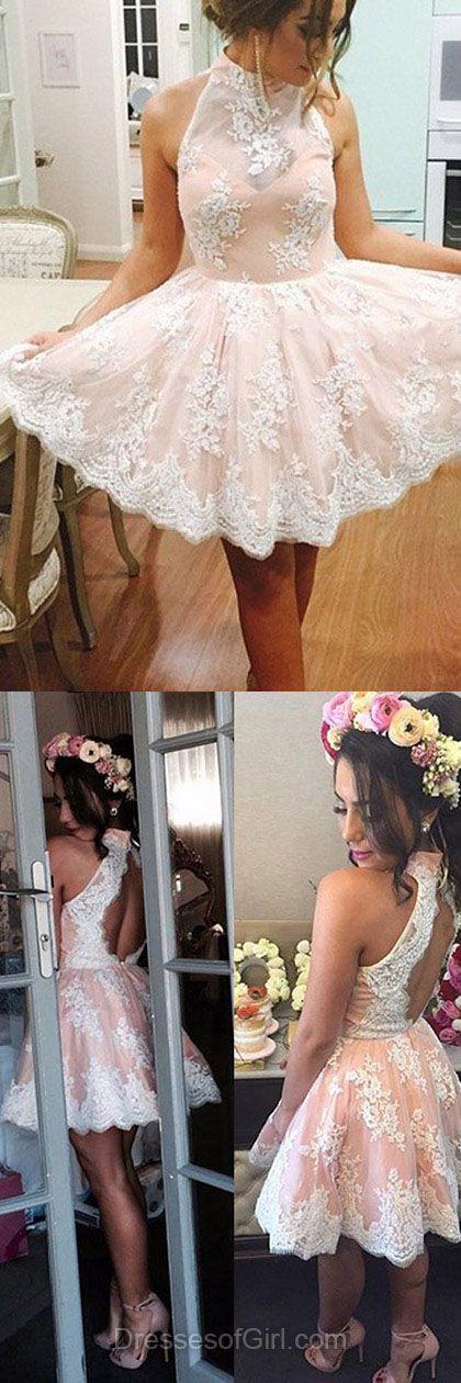 Lace Halter homecoming dress, short homecoming dress, Short lace prom dress, Custom homecoming dress, 15067