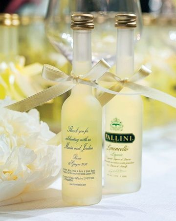 Limoncello Favors  Bottles of limoncello, personalized with the wedding date, were also given as favors.