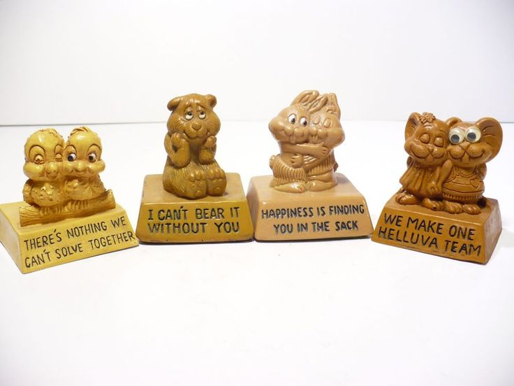 4  Vintage Wallace Berrie Co Animal Figurines 1970's Love couples messages