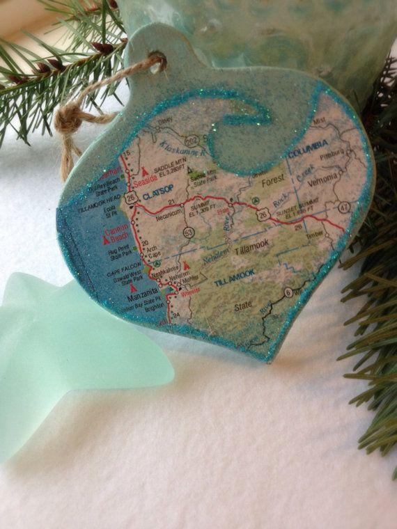 Ocean Wave Pacific Northwest Oregon Beaches Map Christmas Ornament - Seaside, Cannon Beach, Manzanita, Tillamook, Brighton