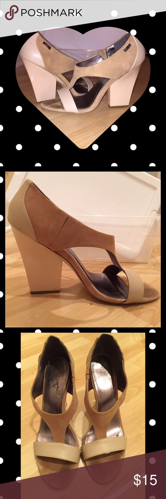 Calvin Klein heels! Tan/ cream pumps comfy for work or play! Calvin Klein Shoes Heels