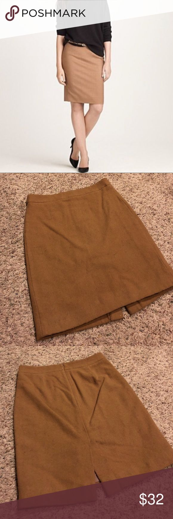 "J crew tan pencil skirt A staple in anyone's wardrobe!  Size 2.  Tan.    Feels like wool but it is 70% laine and 30% viscose.  Fully lined.  Dry clean only. Perfect for winter.  Waist is 14"" across.  Length is 20"". J. Crew Skirts Pencil"