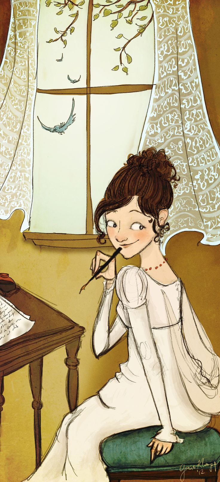 """""""Dreaming Up Darcy"""" My attempt at drawing Jane Austen. By Gracie Klumpp."""