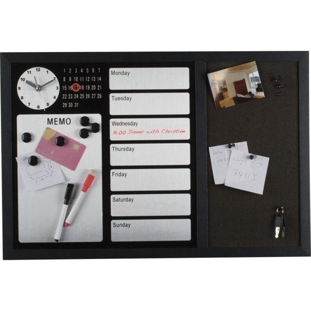 Tablica magnetyczna z powierzchnią korkową, zegarem i kalendarzem.