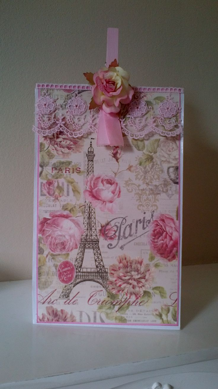Altered gift bag using papers from Dovecraft Sweet Paris.