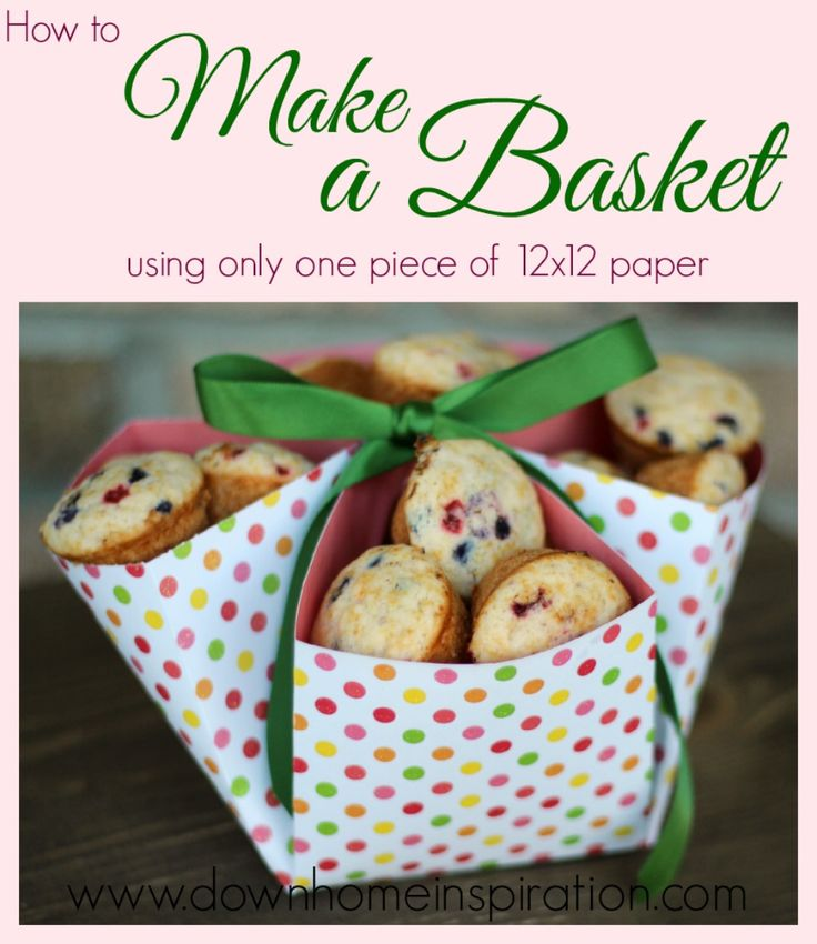 Paper basket. Made from one piece of paper and cute way to gift cookies. | Down Home Inspiration. http://www.downhomeinspiration.com/make-basket-one-piece-12x12-paper/