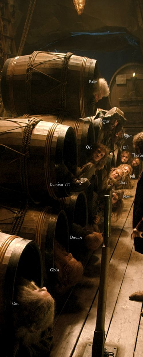 Dwarves in barrels! Yes, I am using Tolkien's spelling of the plural form of dwarf--I think it looks better on the page. ;)