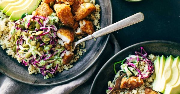Spicy Fish Taco Bowls with Cilantro Lime Slaw | Recipe | Spicy fish tacos, Fish taco bowls and Cilantro lime slaw