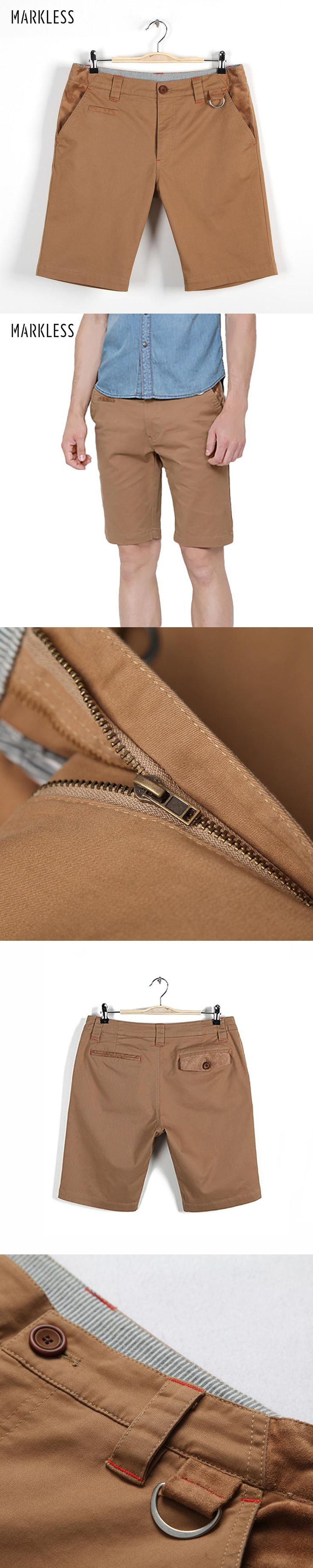 Markless Summer Casual Men Shorts Male Solid Khaki Capris Beach Straight Short Pants Fashion Man Shorts Hot Free Shipping