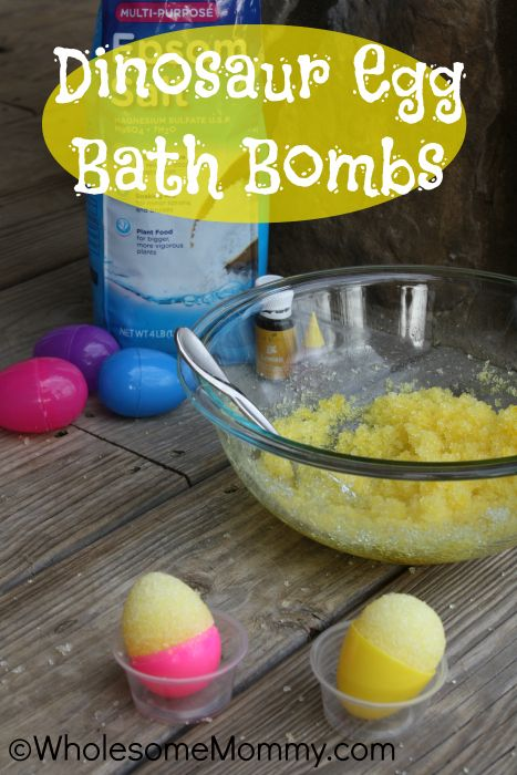 Dinosaur Bath Bombs- Healthy Fun with just three ingredients!  EASY and great for gift giving too!  From WholesomeMommy.com