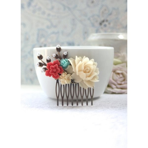 Coral and Ivory Wedding Comb Ivory Rose Coral Aqua Blue Pearl Sprig... ($29) ❤ liked on Polyvore featuring accessories, hair accessories, decorative combs, silver, coral hair accessories, pearl hair comb, leaf hair accessories, flower hair accessories and hair comb accessories