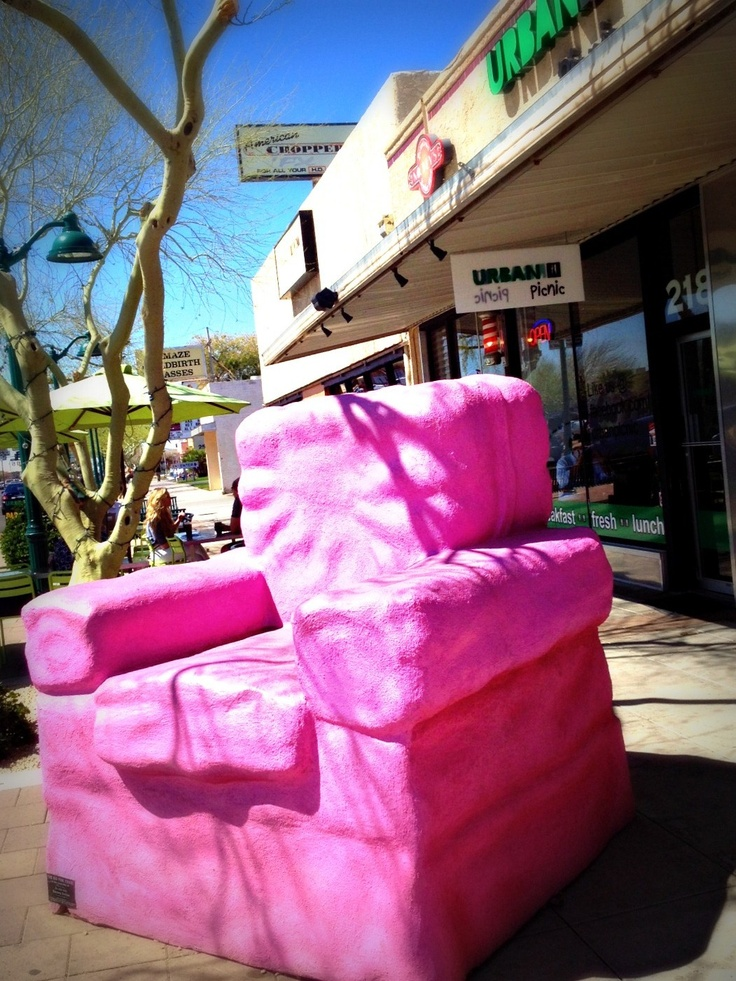 The BIG Pink chair in Downtown Mesa Arizona. Discover over 35 art sculptures in DT Mesa!