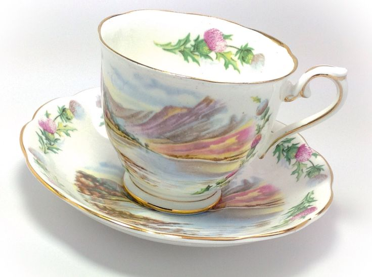 Royal Albert tea cup and saucer British Songs Bonnie Banks O' Lomon by JoyJoeTreasures on Etsy https://www.etsy.com/listing/234105673/royal-albert-tea-cup-and-saucer-british