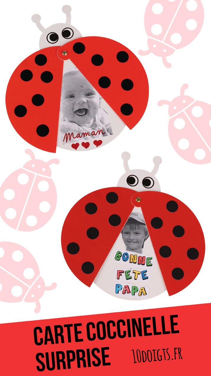 Carte coccinelle surprise : Activité facile pour les enfants, idéale pour cadeau  de fête des mères/pères. #bricolage #papa #maman #cadeau