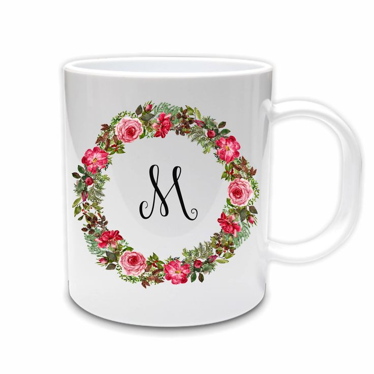 Excited to share the latest addition to my #etsy shop: Coffee mug // Coffee mug with floral wreath // Monogram mug // Mug with initial // Rose floral wreath // Bridal party gift