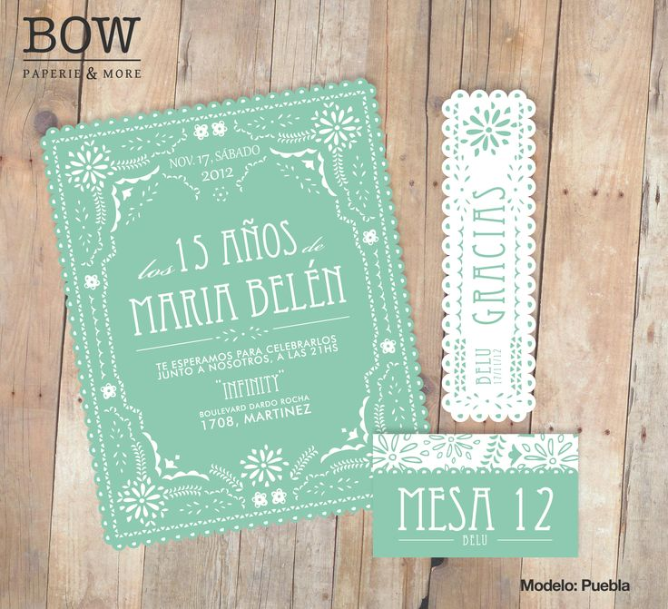 Tarjeta 15 años  mint is in! www.bowpaperie.com