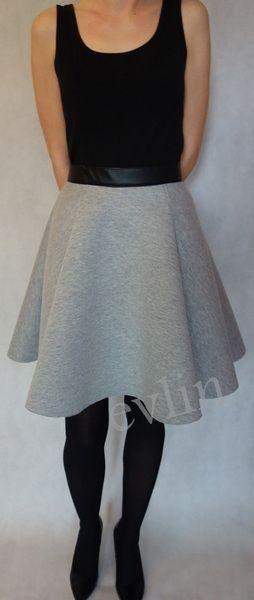 Szara spódnica z pianki z czarnym pasem z ekoskóry w evlin na DaWanda.com