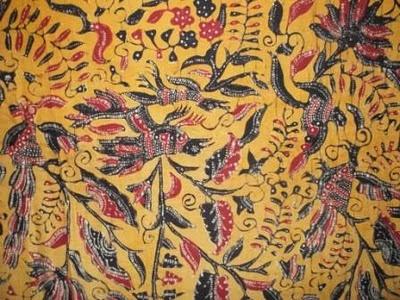 Batik Tulis Lasem Dua Kepala 1960's  Long cloth, Bird Motif, Color Orange  Size app. 253 X 108 cm