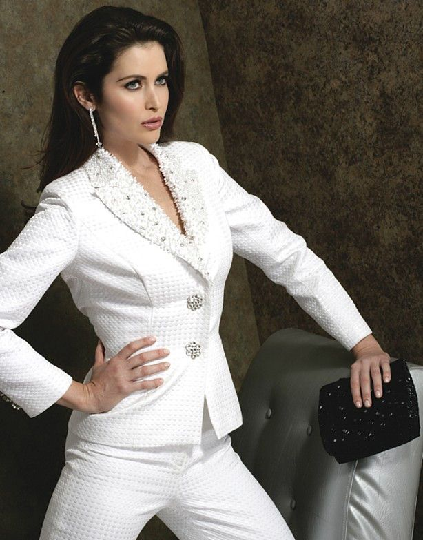 83 best images about white pants suits on pinterest for for Womens white dress suit wedding