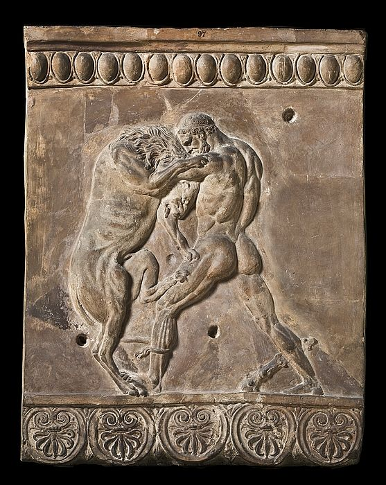 Campana relief with Hercules fighting the Nemean lion. Roman, 50 BC-50 Restored