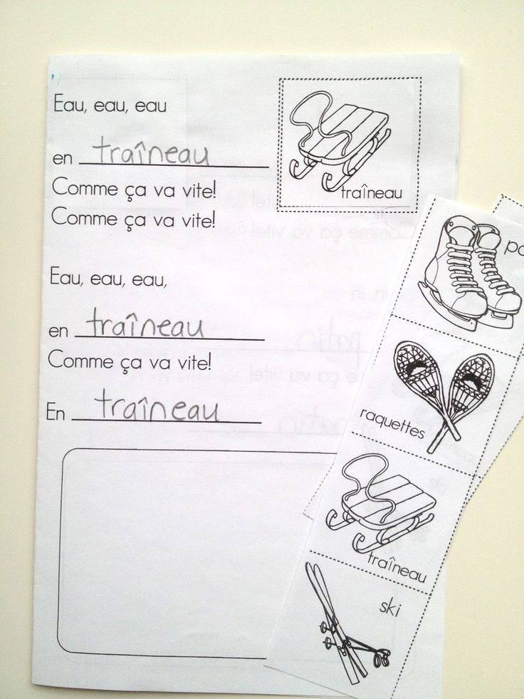 """Chanson et livre des sports d'hiver (printable)  Les loupes de lecture  (printable)    A shared reading/song, this one to the tune of """"Sur ..."""