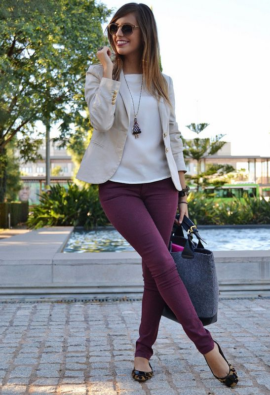 Love the Maroon Jeans & the Tan Blazer | Modern Business Casual