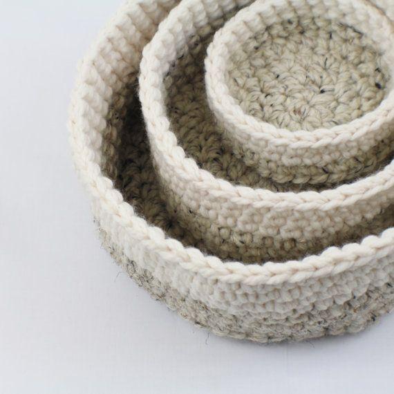 Crochet anidación tazones - juego de 3 / tazones de fuente de almacenamiento de información / apilar canastas