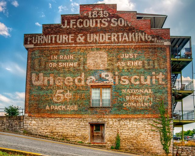 Do Uneeda Biscuit? This is an old advertising sign on the side of an old building in downtown Clarksville Tennessee. Probably from the 1930's or 40's, I'm guessing. The old building is part of the Clarksville Architectural District, on the National Register of Historic Places.