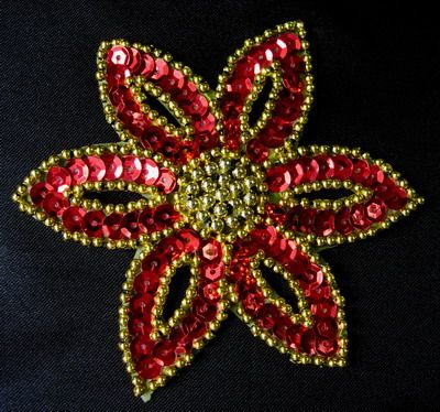 FW199 Red Gold Petals Flower Sequin Beaded Applique 2pcs