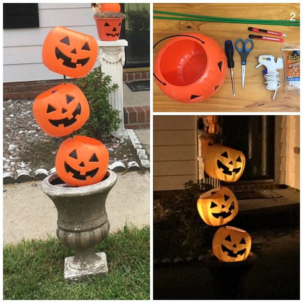 I came across a fun idea to make for Halloween this year from Heather Woodside on Instagram! She shares her tutorial with us today! Supplies: 3 Plastic pumpkin buckets Scissors/screw driver Hot glue gun X-Acto knife 2 garden stakes Solar lights which are about .98 cents at Walmart Cut the handles off the pumpkins then cut …
