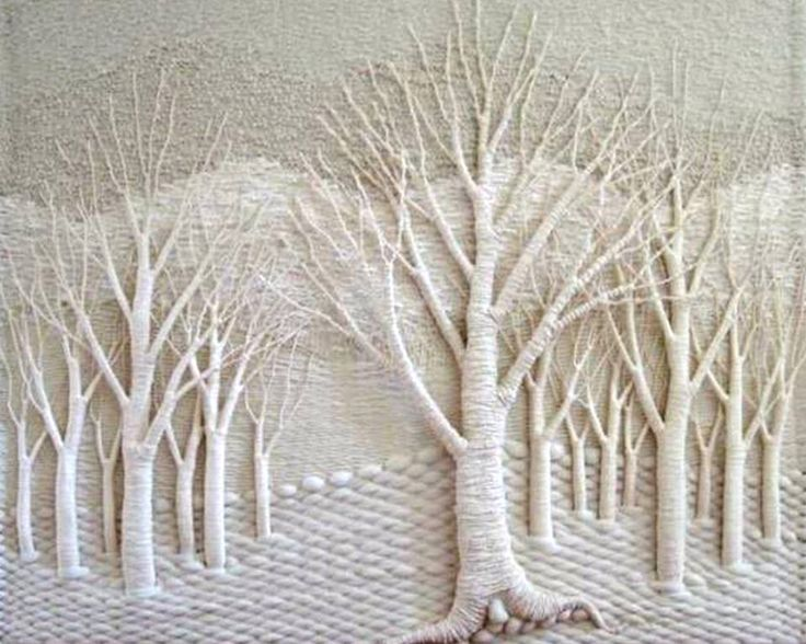 Doesn't this fibre art piece make you feel that you're deep in a snowy forest? Textile artist Gloria McRoberts has a passion for depicting trees and landscapes.   Check out more of her work on her website at http://gloriamcroberts.com/index.php?option=com_phocagallery&view=category&id=1&Itemid=59