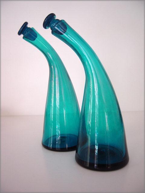 Rare blenko art glass bent neck cruet set winslow for Anderson art glass