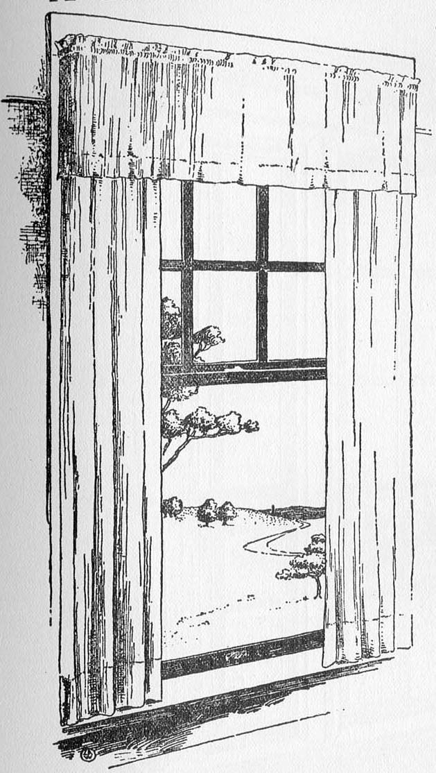 Typical of a bedroom window with a heavier fabric and valance mounted on nesting sizes of goose-neck curtain rods.   Designs had not yet been developed at the time of these illustrations in The Craftsman in June 1903 but plain, sometimes hemstitched curtains of this type remained appropriate throughout the Craftsman era.