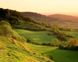 Walk Cotswold Way ... view from Birdlip Hill at sunset