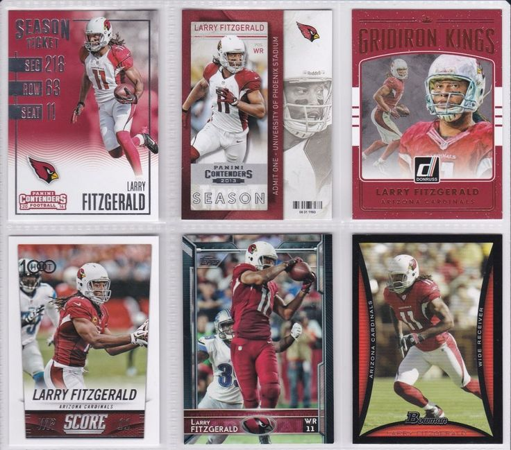 Larry Fitzgerald Arizona Cardinals 6 Trading Card Lot Donruss Panini Score Topps #ArizonaCardinals