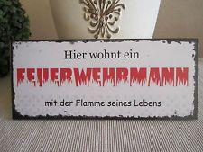 Dekoschild Wandbild Feuerwehrmann Schild Vintage Impressionen Shabby Mehr