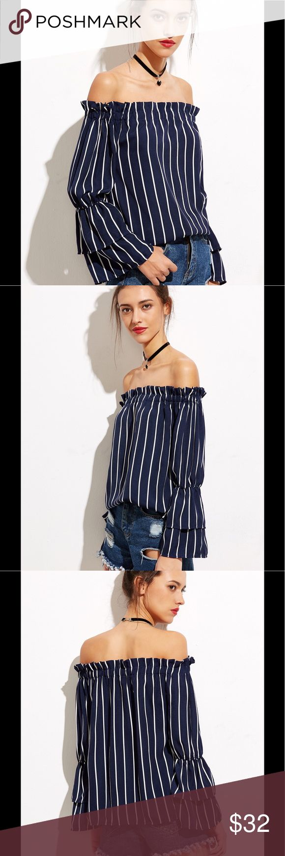 Just in! Easy Breezy off the Shoulder Top Love this easy, breezy cold shoulder top! Vertical Striped Tiered Bell Sleeve Bardot Top in rich navy. 1005 poly. Fits to size. Bust(Cm):  S:92cm, M:96cm, L:100cm, XL:104cm Length(Cm): S:51cm, M:52cm, L:53cm, XL:54cm Sleeve Length(Cm): S:53cm, M:54cm, L:55cm, XL:56cm Karina's Threads Tops Blouses