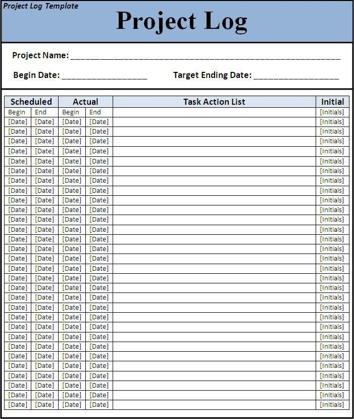Project Log Template  WordstemplatesOrg    Template