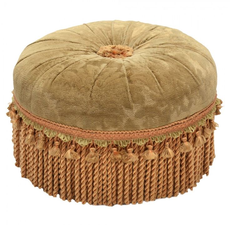 Antique Victorian foot stool with original velvet top, tassles, and fringe.