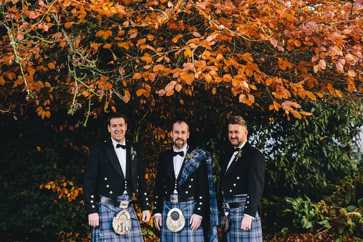Groom and groomsmen wear kilts in family tartan. Images by Paul Santos and The Twins.