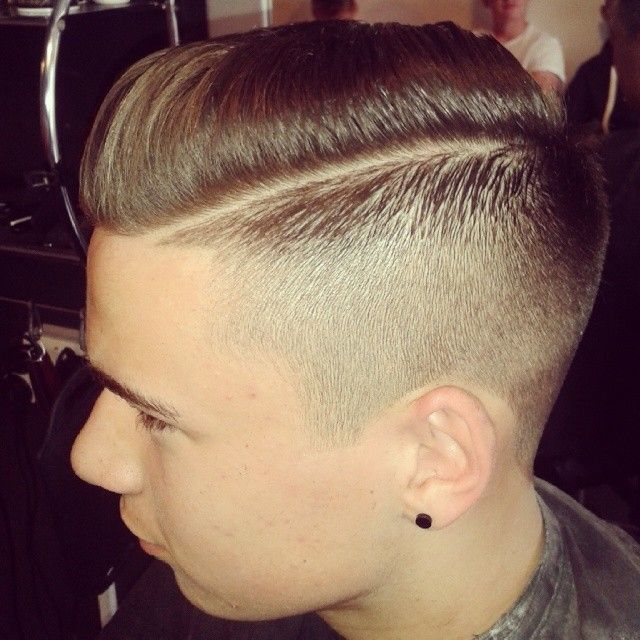 """imonkeyaround: """"Faded tight with a hardline bit of a pomp on top finished off with @officiallayrite nice hold @baldysbarbers """""""