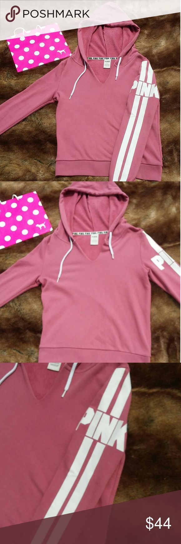 Vs PINK hoodie Victoria's Secret PINK Soft begonia split neck hooded sweatshirt pullover White stripes and logo down side of sleeve Worn and washed ONE TIME Never dried Absolutely perfect like new condition Retail $55 after tax Size small True to size CHEAPER WHEN BUNDLED WITH OTHER ITEMS IN MY CLOSET PINK Victoria's Secret Tops Sweatshirts & Hoodies