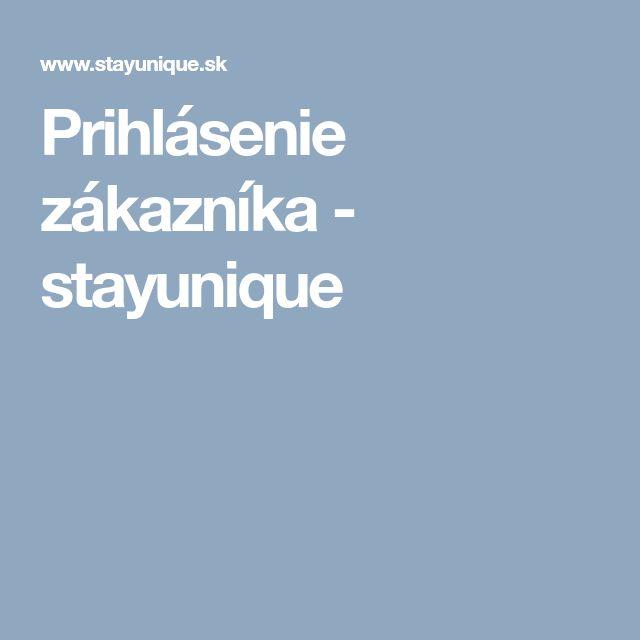 Prihlásenie zákazníka - stayunique