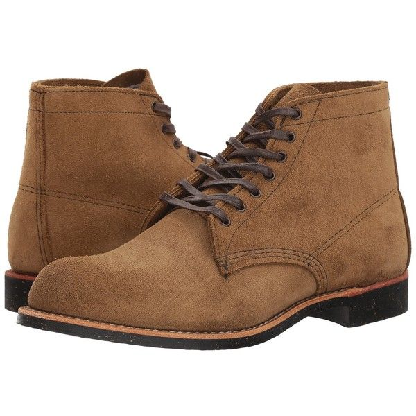 Red Wing Heritage Merchant (Olive Mohave) Men's Lace-up Boots ($320) ❤ liked on Polyvore featuring men's fashion, men's shoes, men's boots, low heel mens dress shoes, mens platform boots, mens boots, mens shoes and mens harness boots