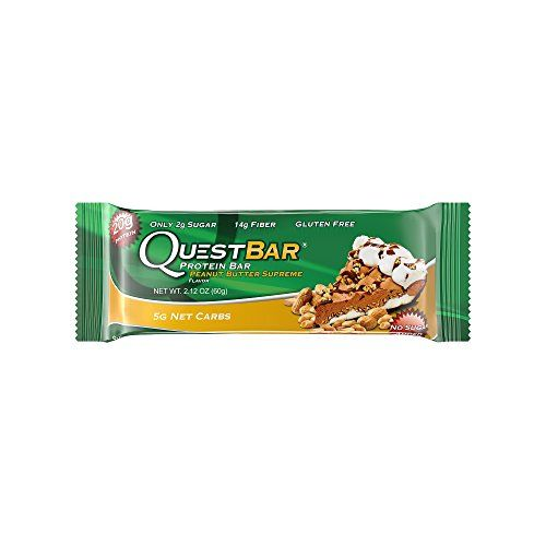 Quest Nutrition Protein Bar Peanut Butter Supreme 20g Protein 5g Net Carbs 210 Cals High Protein Bars Low Carb Bars Gluten Free Soy Free 2.1 oz Bar 12 Count
