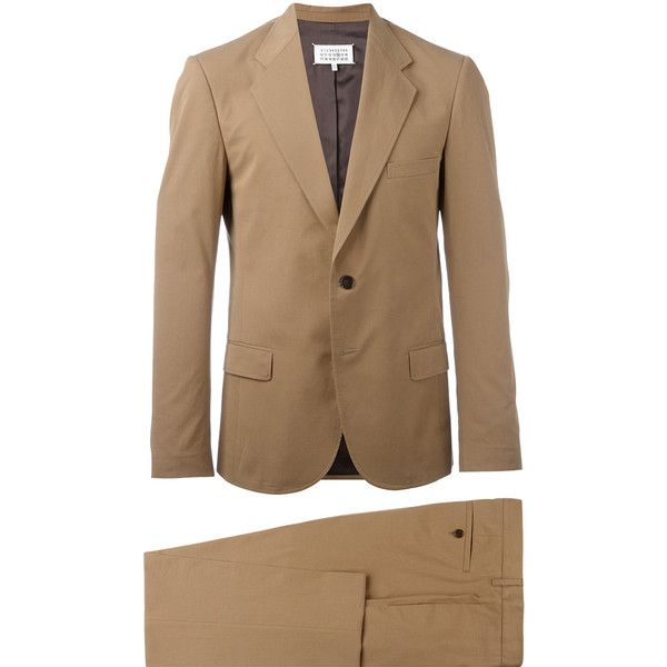 Maison Margiela Classic Two Piece Suit ($1,122) ❤ liked on Polyvore featuring men's fashion, men's clothing, men's suits, mens slim fit suits, mens two piece suits, mens brown suit, mens cotton suit and mens slim suits