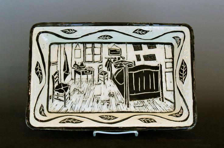 Jon Loer 2014, White earthenware with sgrafitto design, Van Gogh's room at Arles
